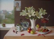Ф.Ф.Вдовин. Натюрморт с лилиями. 2001 г. Холст, масло.  85х60 см.