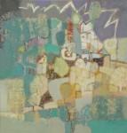 В.С.Горячев. Пейзаж с молнией. 2006. Б., смеш. техника. 55х53.