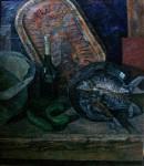 Е.Г.Дарьина. Натюрморт с рыбами. 1990 г. Х.,м. 100х90 см.