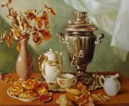 Ф.Ф.Вдовин. Натюрморт с самоваром. 1993 г. Холст, масло. 80х70 см.
