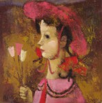 А.Л.Аранышев. Девочка с тюльпанами. 2006 г. 50х50 см. Холст, масло.