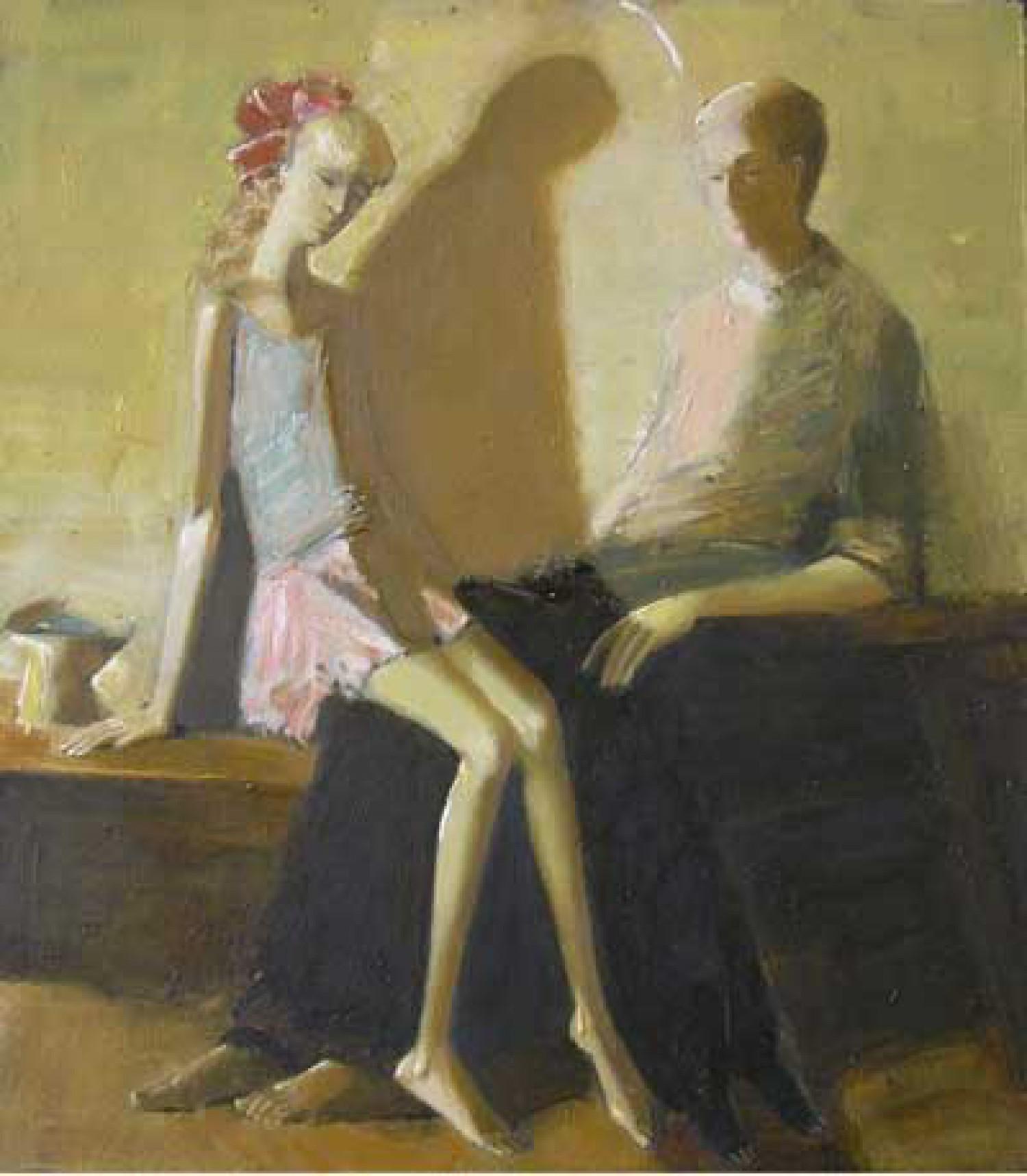А.Н.Сериков. Втроём с чашей. 1992. 80х70. Холст, темпера, масло.