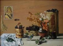 Ф.Ф.Вдовин. Натюрморт с черноплодной рябиной. 1991 г. Холст, масло. 100х70 см.