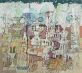 В.С.Горячев. Город фонтанов. 2004.  Б., смеш. техника. 51х58.