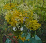 Е.Н.Пивень. Жёлтые цветы. 2006 г. Холст, масло. 60х65.