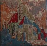 О.А.Александрова. Старая церковь. 2001 г. Медь, эмаль. 35х35 см.