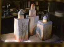 "Т.М.Суховеенко. Декоративные штофы ""Старый город"". 1985. Керамика."