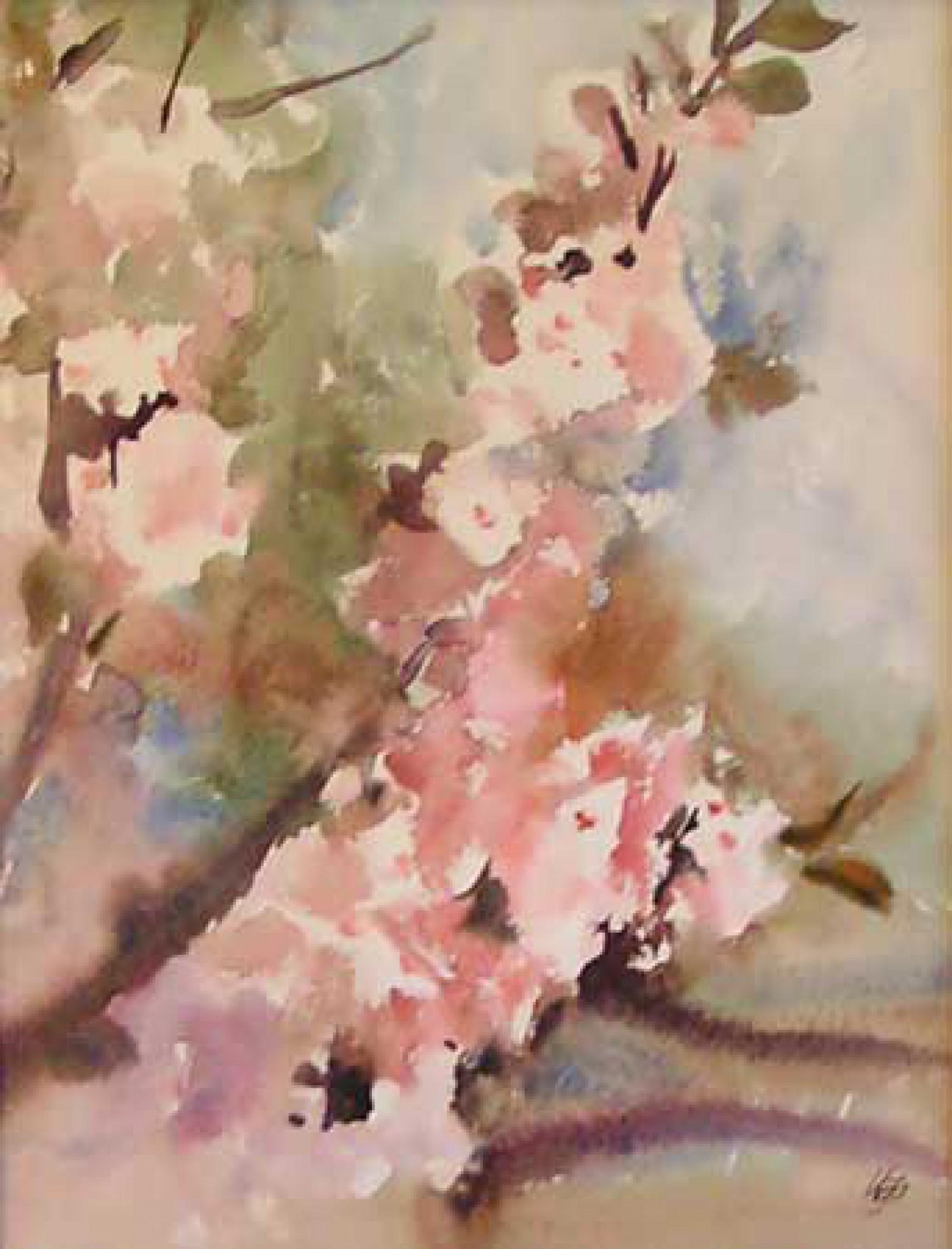 И.Н.Флоринская. Ветка яблони. 2007 г. 34х26. бумага, акварель.