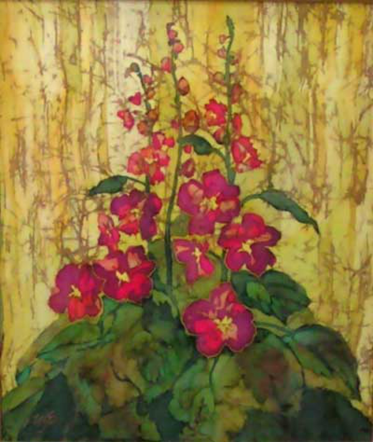 И.Н.Флоринская. Мальвы. 2004 г. 60х70. нат. шёлк, батик.