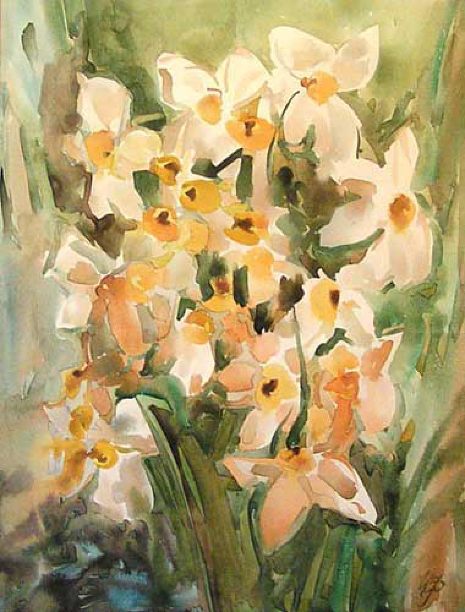 И.Н.Флоринская. Нарциссы. 2007 г. 35х28. бум. акварель.