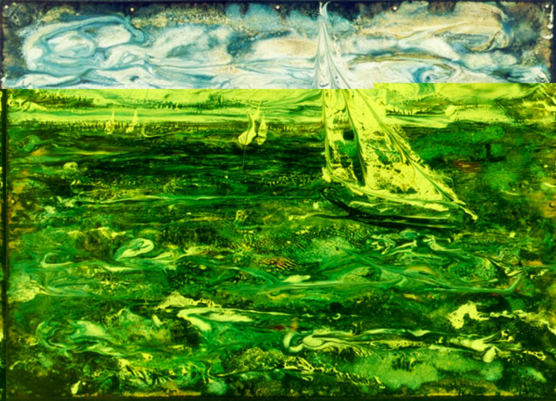 А.С.Александров. Парус. 2001 г. Медь, эмаль. 35х49 см.