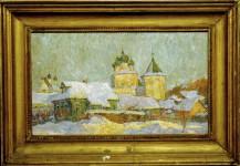 Ю.М.Баранов. Борисоглеб. Зима. 1979 г. 35,5х60 см. К., м.