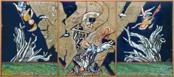 """А.А.Карих. """"Россия. 20 век. Затмение"""". Медь, эмаль. 40х90 см. 2005"""