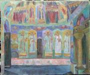 Ю.М.Баранов. Интерьер церкви Воскресения. 1981 г. 70х84 см. Х., м.