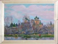 Ю.М.Баранов. Борисоглеб весной. 1995 г. 50х70  см. Х., м.