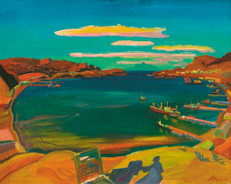 А.А.Карих. Тет-а-тет с вулканом Тя-Тя. 1985 66 х 81см. К.м.