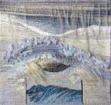 "Е.Маркелова. Триптих ""Серебряное море"". 50х50 см. шерсть, ручное ткачество, сизаль. 2013 г."