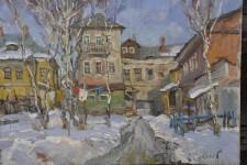 С.И.Соколов. Заровский двор. 40х50 см. Х.м.