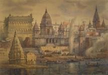 """Е.Вахина """"Священный Варанаси. Индия"""". 2010 г. Бумага, акварель, отмывка."""