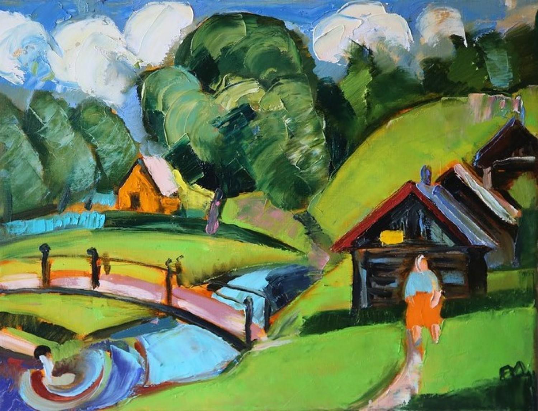 И.Д.Антонова. Баньки в Вятском. 2015. Х.м, 50х60 см.