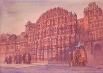 """Е.Вахина """"Розовый город Джайпур. Индия"""". 2010 г. Бумага, акварель."""