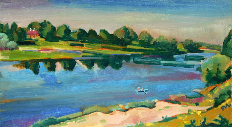 И.Д.Антонова. Река Солоница. 2015. Х.м, 50х87 см.