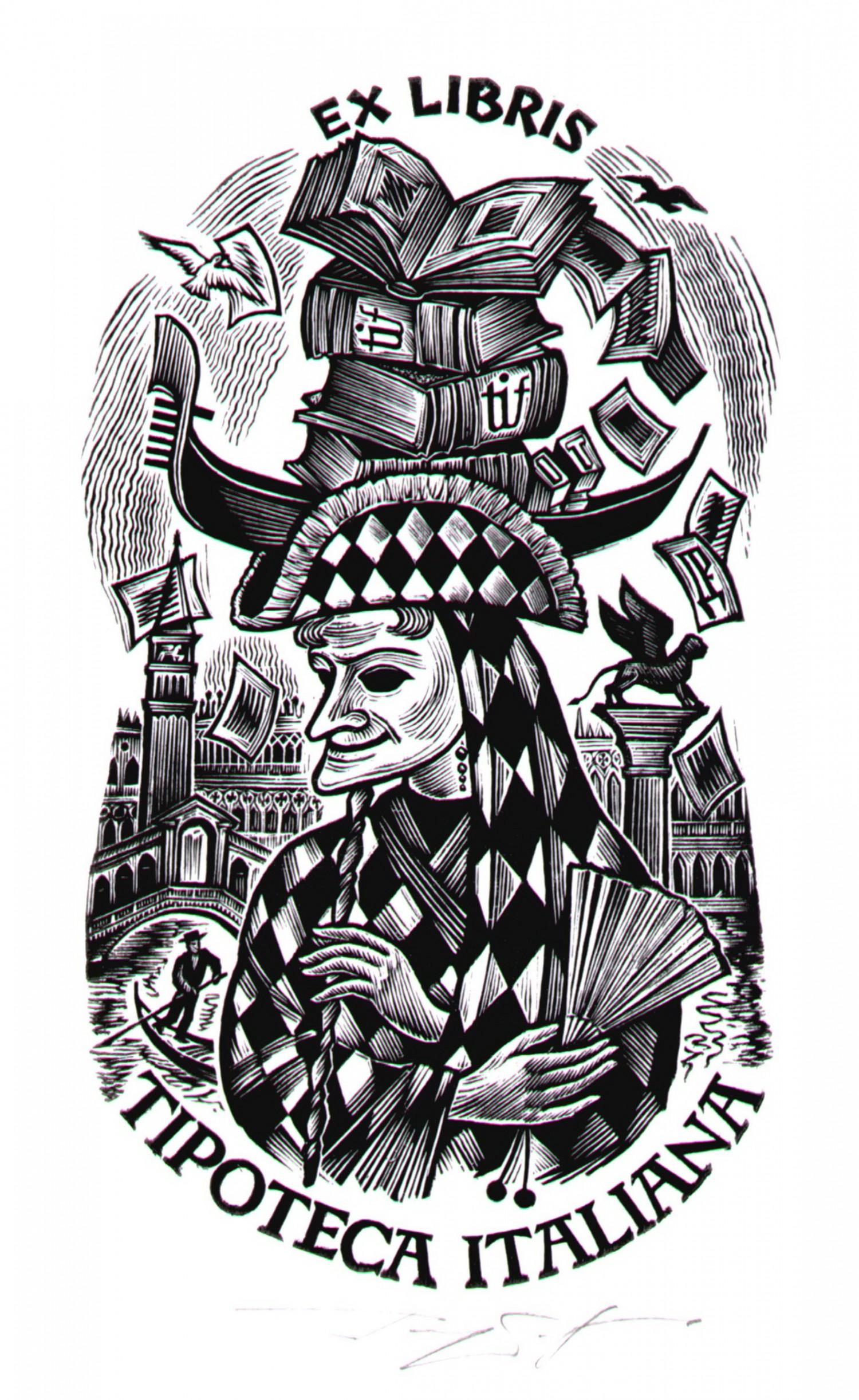 Д.П.Реутов. Карнавал Венеция. 2006 г.. Ксилография, 13Х7,4.