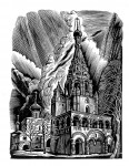Д.П.Реутов. Колокольня церкви Рождества Христова. Из серии «Древний Ярославль». Ксилография. 13х10 см.