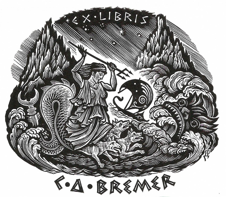 Д.П.Реутов. Ex libris C. D. Bremer. X2, 75x86, 2011.