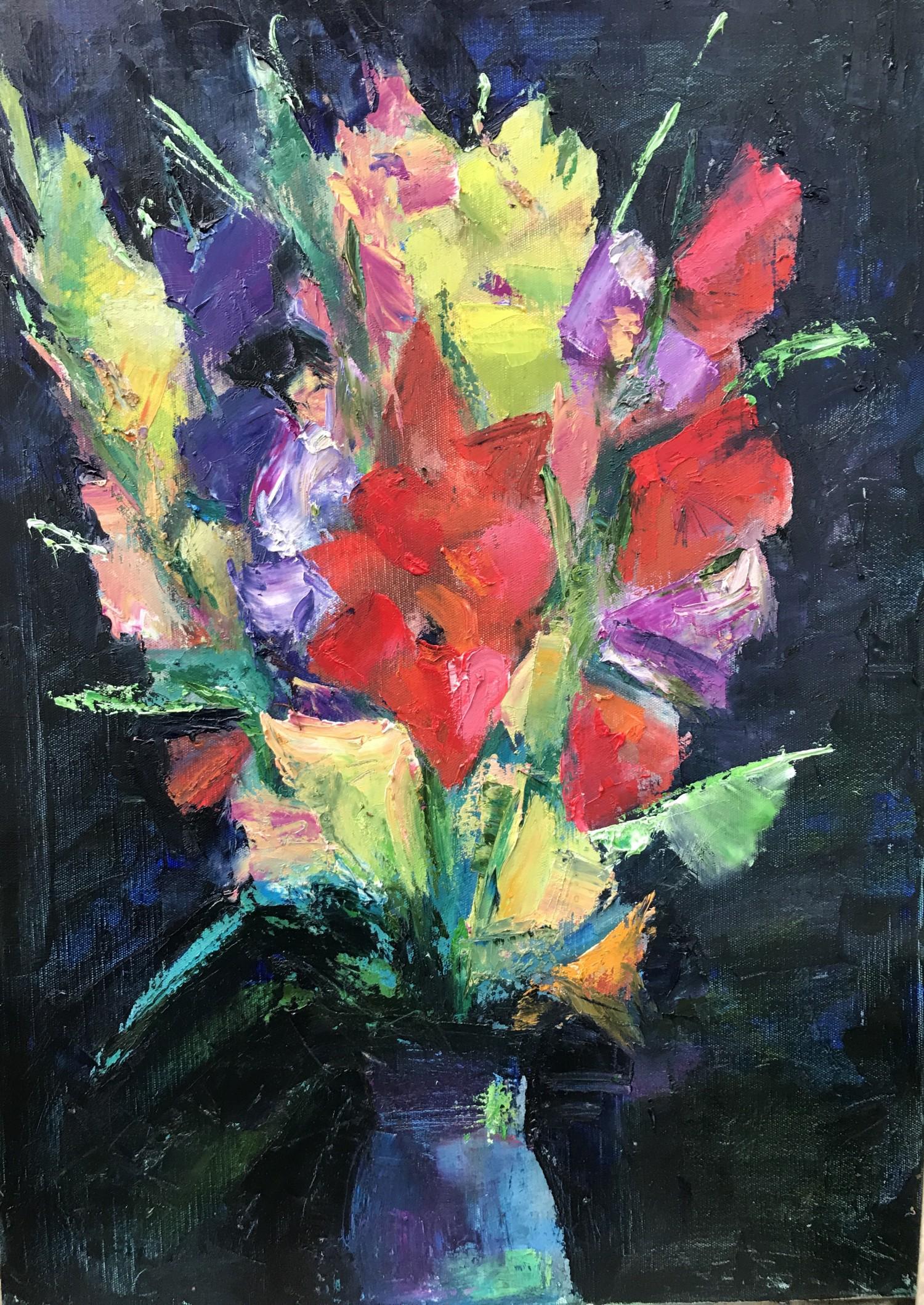 Н.Н.Мухина. Гладиолусы. Х.м., 50х70 см. 2017 г.