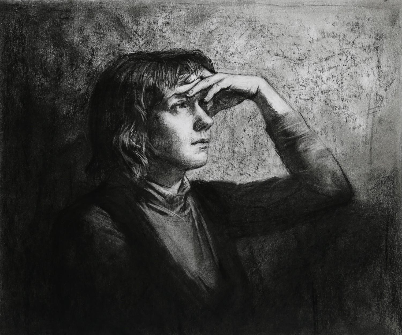 "Д.Д.Хохрина. Александра. Лист из сер.""Портреты"". 2014 г., бум, уголь,31х37"