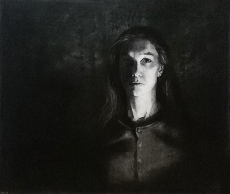 """Д.Д.Хохрина. Дарья. Лист из сер. """"Портреты"""". 2014 г.. Бум, уголь, 31х37 см.."""