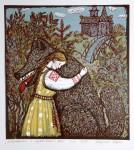 Д.Д.Хохрина. Марьюшка и серый волк. 2013 г.. Цв. линогравюра, 50х40
