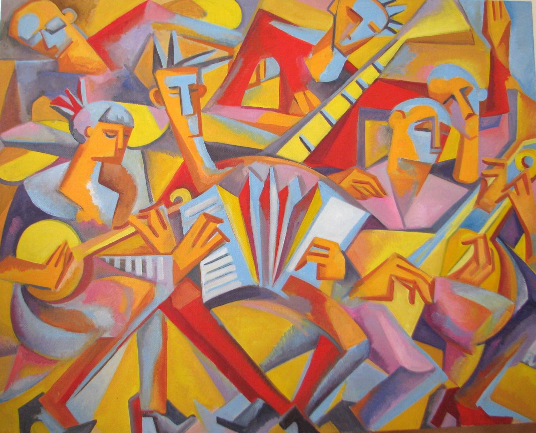 И.Д.Антонова. Музыканты. 2014. Х.м., 100х125 см.