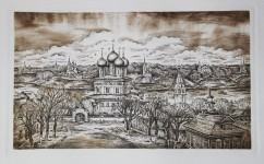 М.В.Ковалёва. Вид Романов-Борисоглебска. 2013. Офорт. 16,5х28.