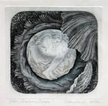 М.В.Ковалёва. Рождение Венеры. 2010. Офорт. 14,5х15,5.