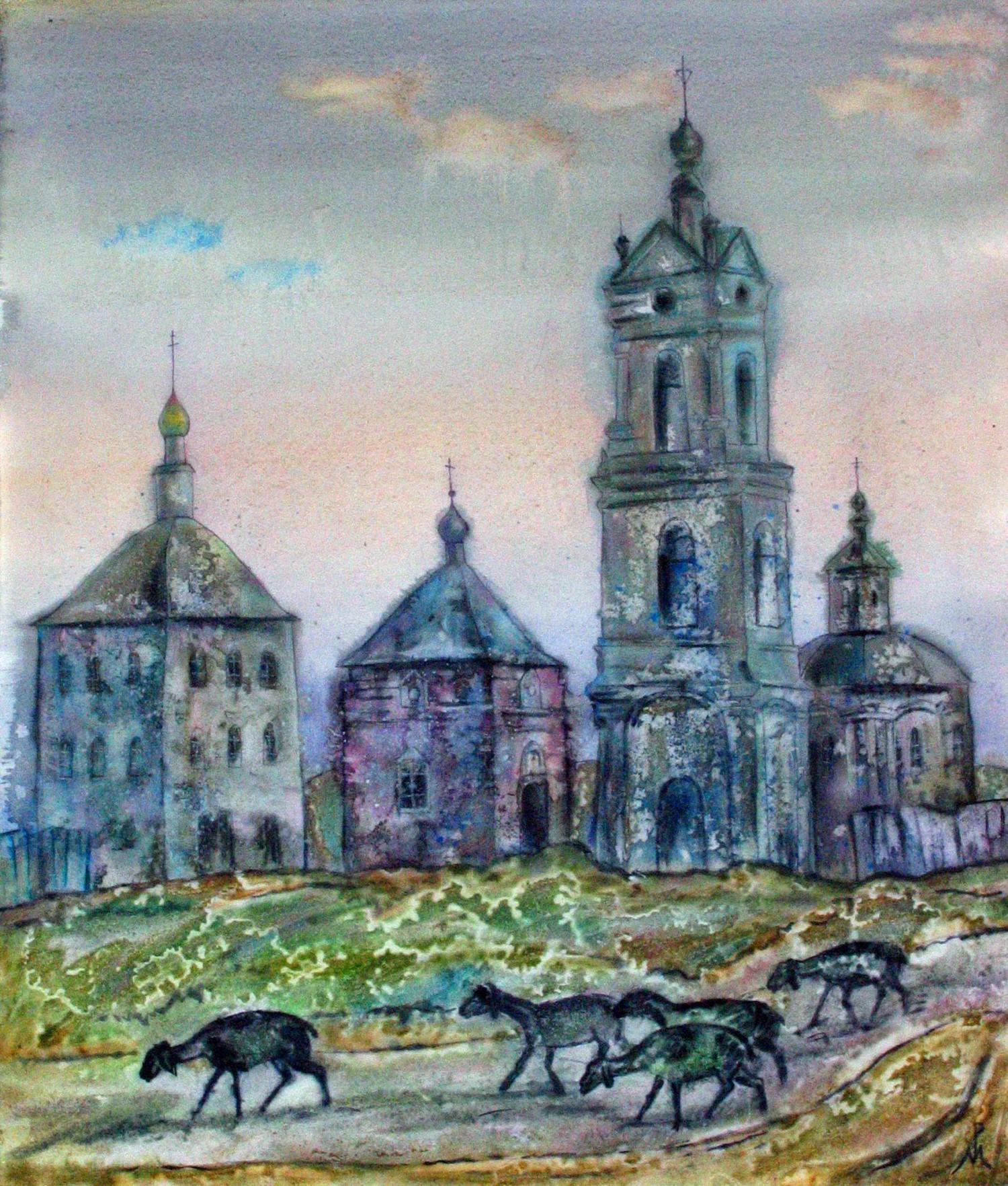 "М.В.Реутова. Тёплый вечер в Погосте. Из цикла ""Лето в Касимове"". 2004. Б., акв. 52х54."