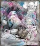 М.В.Реутова. Девочка с игрушками. 1998. Монотипия. 32х28.