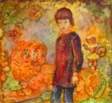 М.В.Реутова. Девочка и лев. 1997. Б. акв., 57Х62,