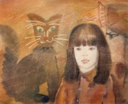 М.В.Реутова. Девочка и кот. 1981. Б. акв., 53Х64.