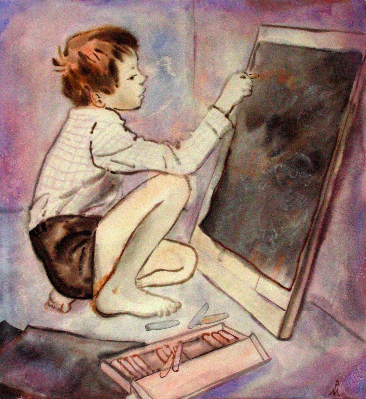 М.В.Реутова. Димка рисует. 1975 г.. Б. акв., 56Х54.