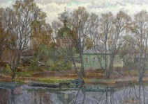 А.В.Ульянов. Покрова на реке Трубеж. 1990. 61,5х86,5. к.м.