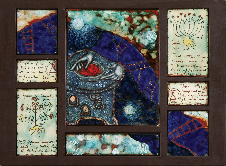 """Стелла Арутюнова """"Фосфор"""" (из серии """"Алхимия""""). 2008 г. Медь, эмаль, дерево. 28х38 см."""