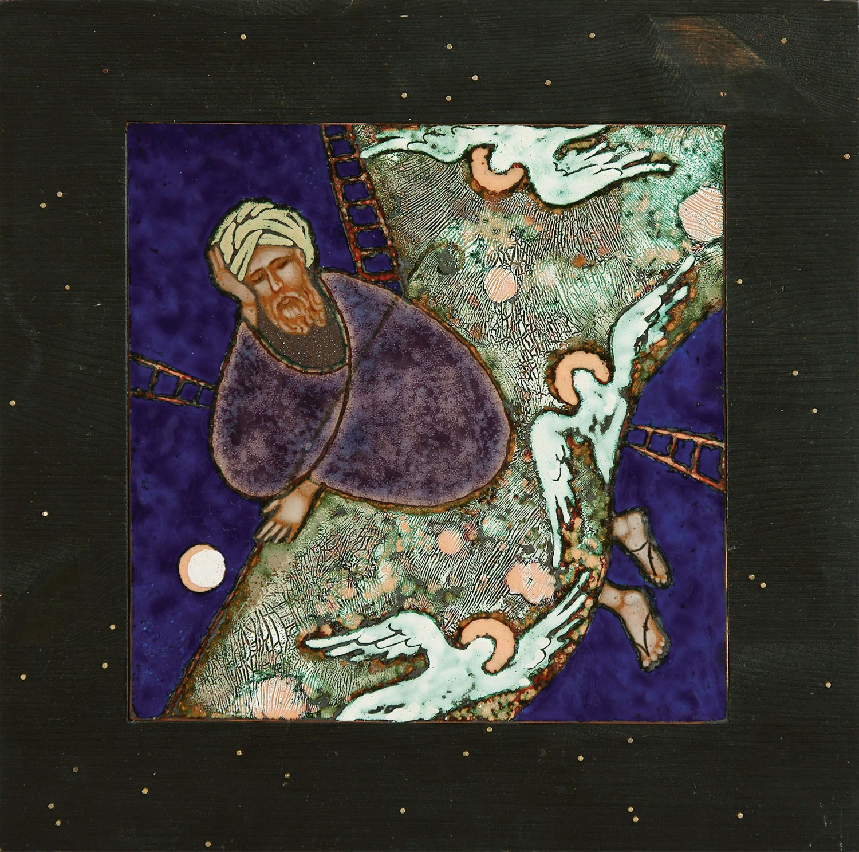 "Стелла Арутюнова ""Сон Иакова"". 2010 г. Медь, эмаль, дерево. 34х34 см."