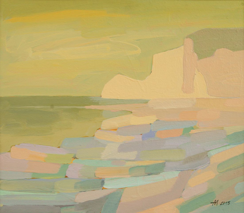 А.С.Александров. Берег. 2015 г. Оргалит, акрил. 61х69 см.
