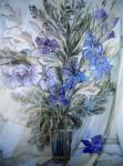 В.Я.Голубкова. Букет цветов. Панно. Батик.
