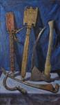 А.В.Городничев. Дерево и железо. 2012. Двп, масло. 100х60 см.