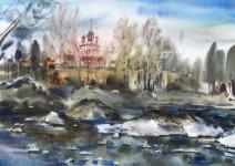 В.А. Епифанов. Церковь Михаила Архангела весной. 2004. 50х70.