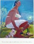 "Е.Ф.Мухина. Чесночный вечер (из цикла ""Бабье лето""). Х., см.техн. 100х90. 2008 г."