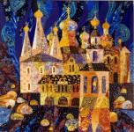 В.Максимова. Есть город золотой. 100х100 см., текстильный коллаж.